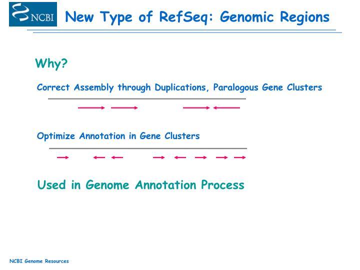 New Type of RefSeq: Genomic Regions