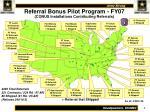 referral bonus pilot program fy07 conus installations contributing referrals