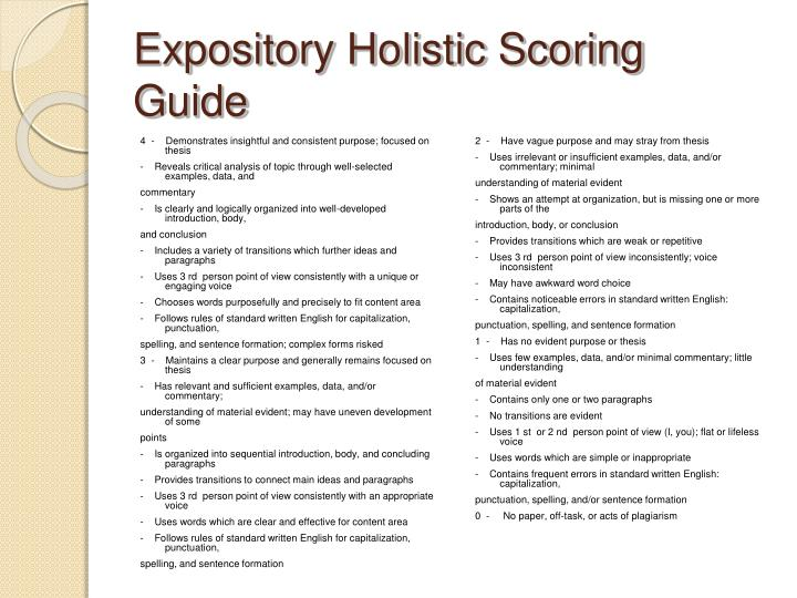 Expository Holistic Scoring Guide