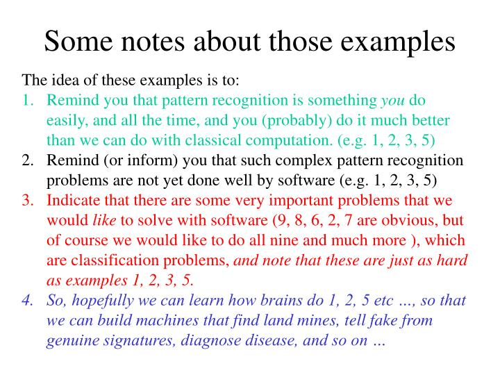 Some notes about those examples