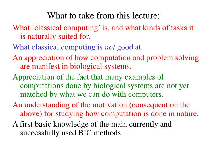 What to take from this lecture: