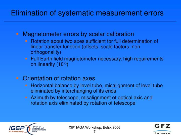 Elimination of systematic measurement errors