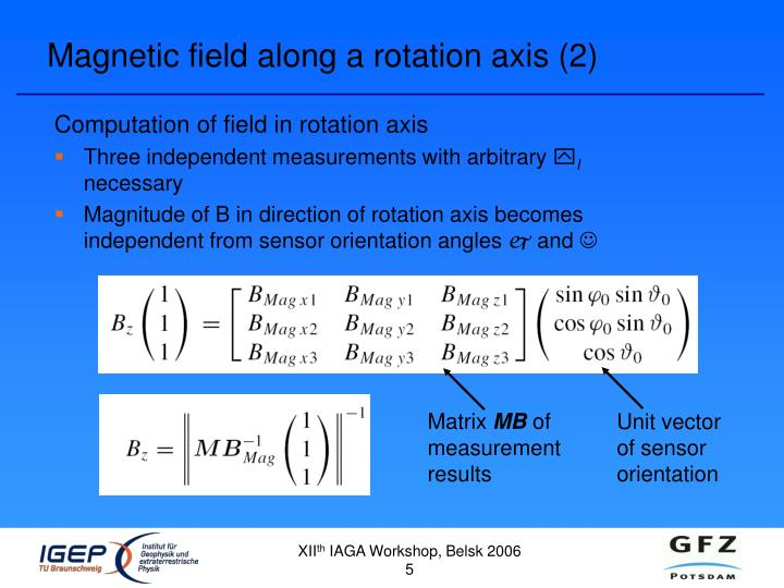 Magnetic field along a rotation axis (2)