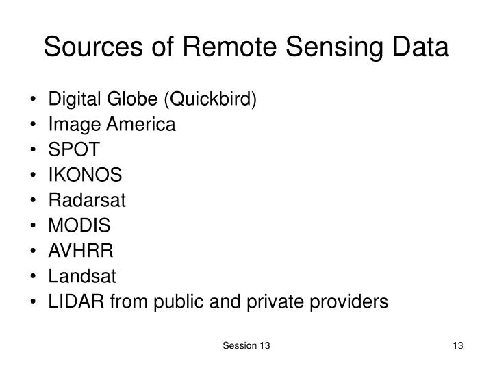 Sources of Remote Sensing Data