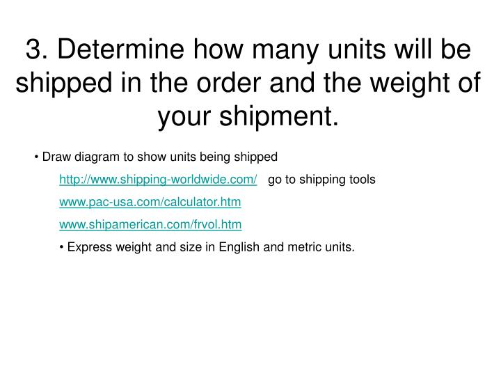 3. Determine how many units will be shipped in the order and the weight of your shipment.