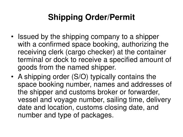 Shipping Order/Permit