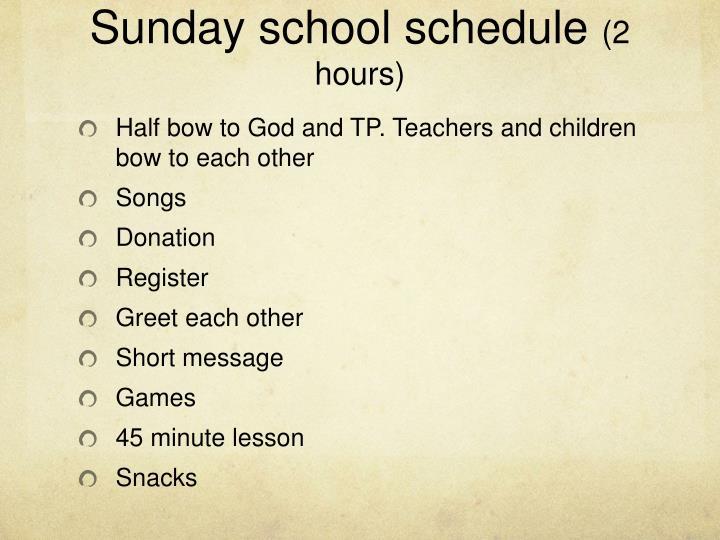 Sunday school schedule
