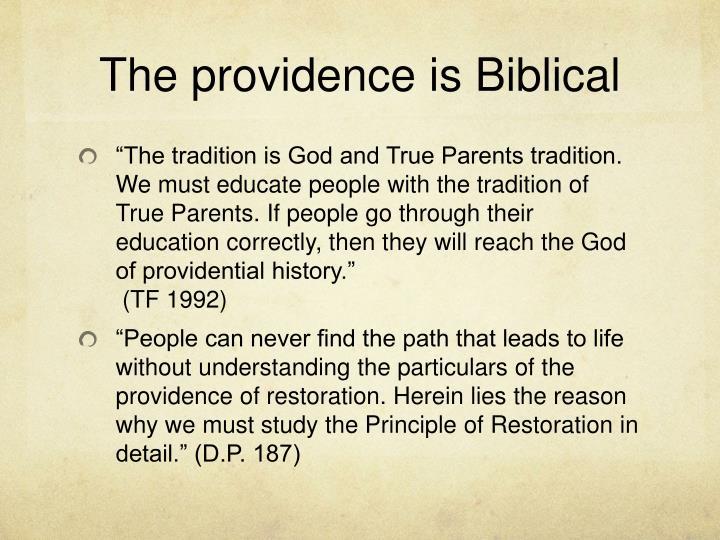 The providence is Biblical