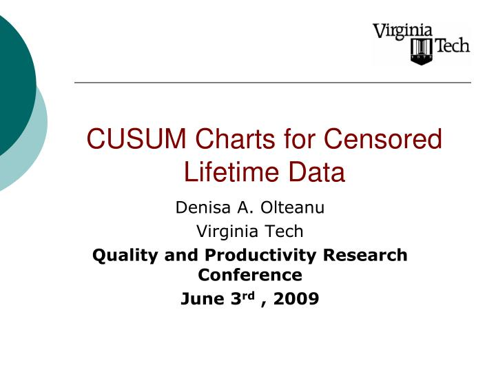PPT - CUSUM Charts for Censored Lifetime Data PowerPoint