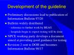 development of the guideline