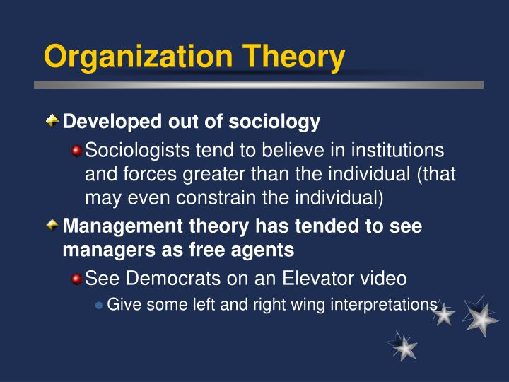 organization management theories Hence this review of classical management theories was  leaders change the individual and organization management is a function (planning, organizing, controlling.