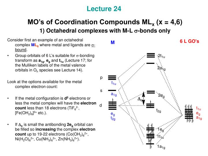 lecture 24 mo s of coordination compounds ml x x 4 6 1 octahedral complexes with m l s bonds only n.