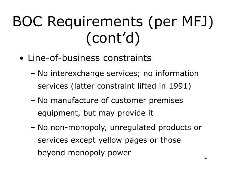 BOC Requirements (per MFJ) (cont'd)