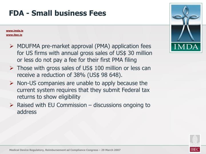 FDA - Small business Fees
