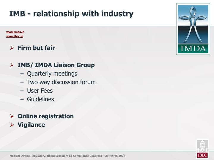 IMB - relationship with industry
