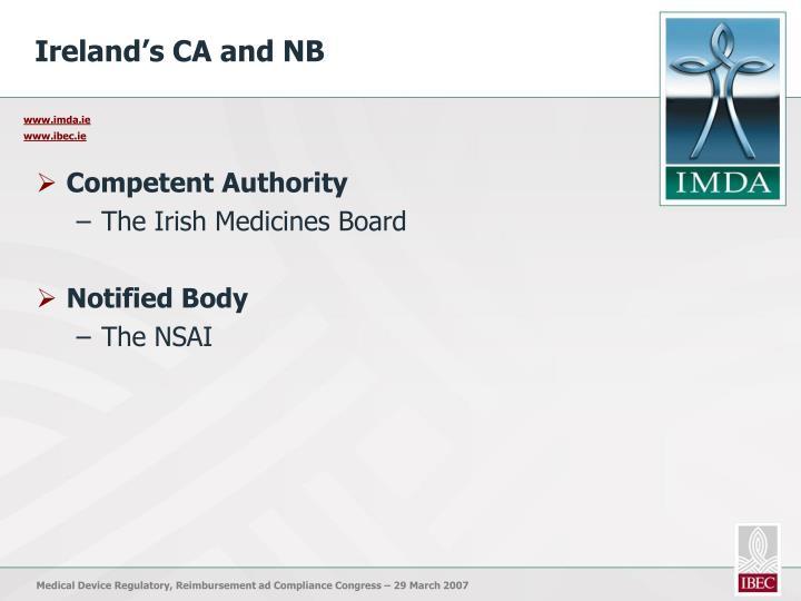 Ireland's CA and NB