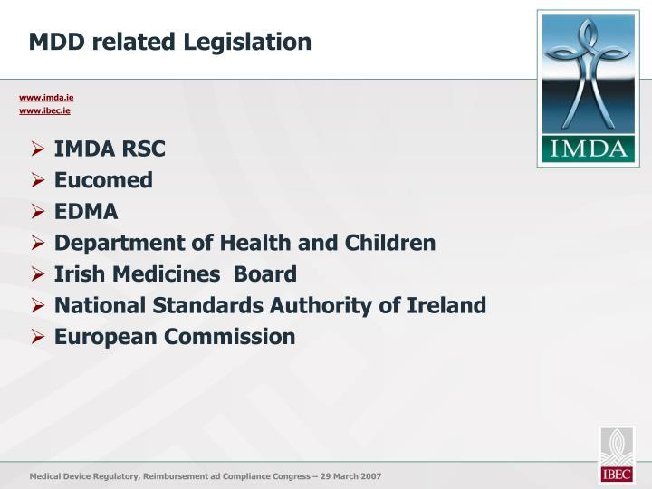MDD related Legislation