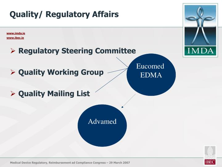Quality/ Regulatory Affairs