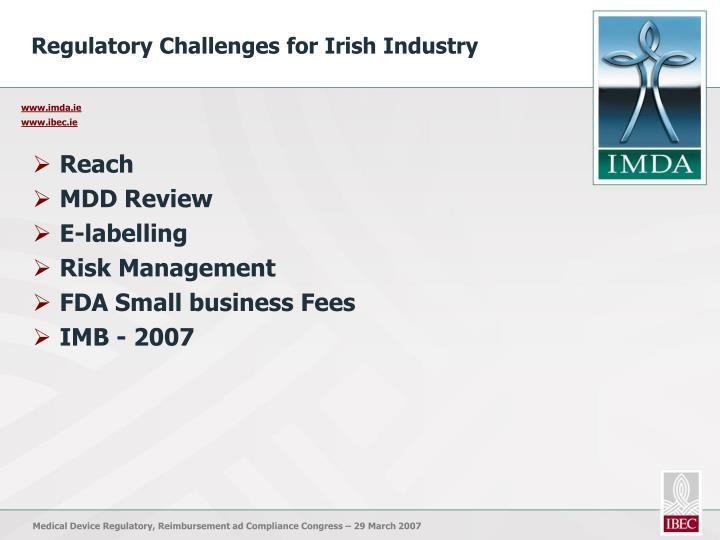 Regulatory Challenges for Irish Industry