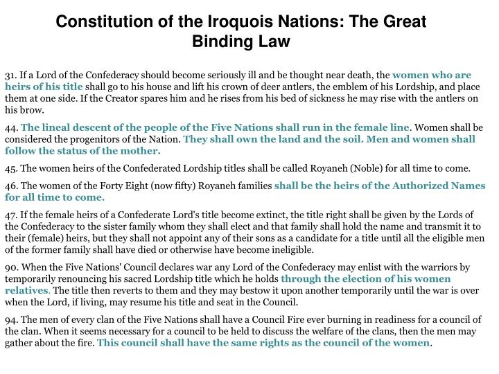 Constitution of the Iroquois Nations: The Great Binding Law