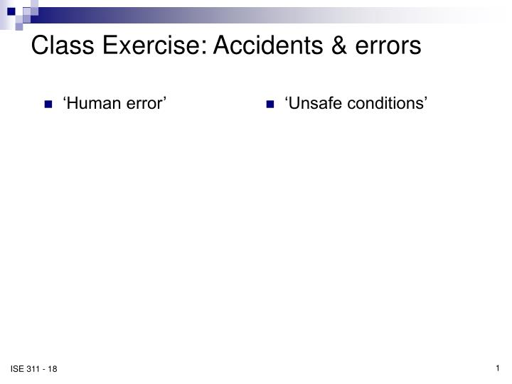 class exercise accidents errors n.