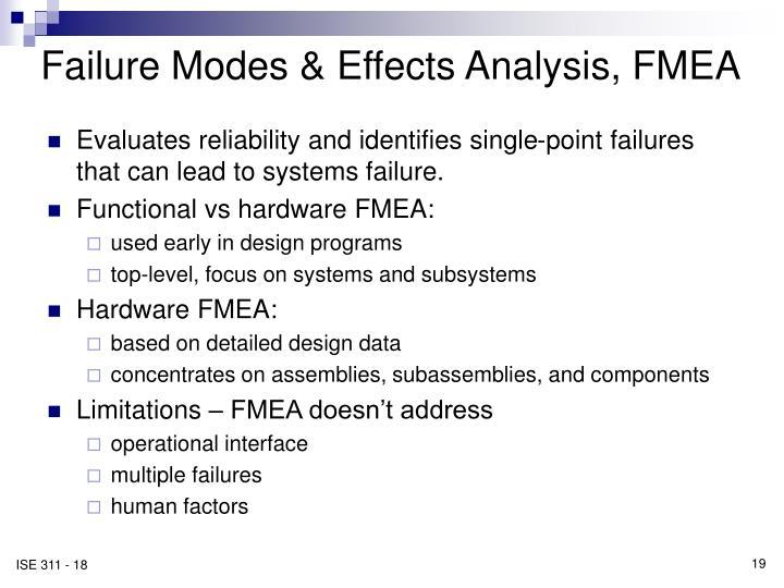 Failure Modes & Effects Analysis, FMEA