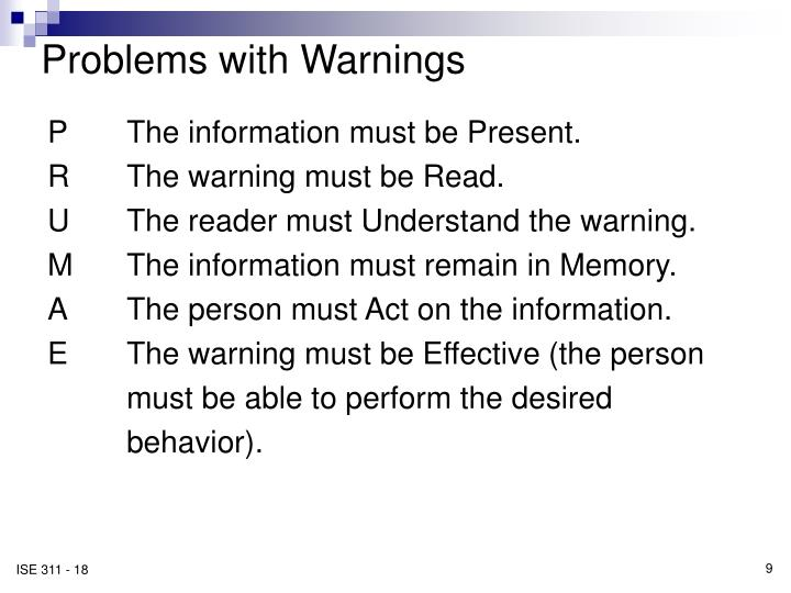 Problems with Warnings