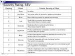 severity rating sev