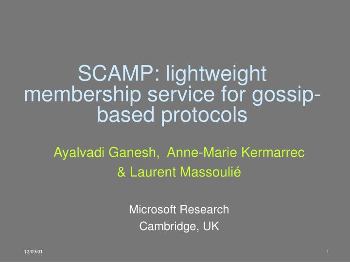 scamp lightweight membership service for gossip based protocols n.