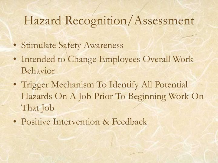 Hazard recognition assessment