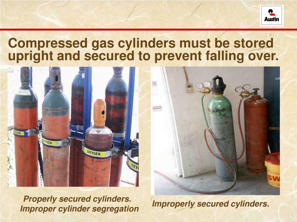 Compressed gas cylinders must be stored upright and secured to prevent falling over.