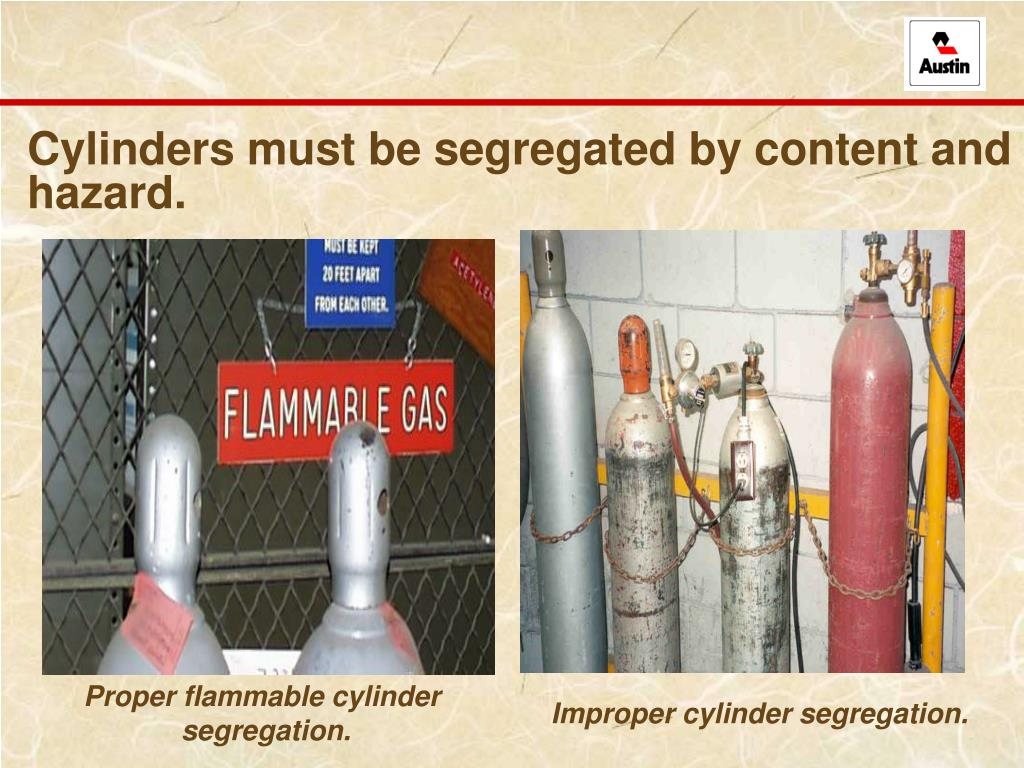 Cylinders must be segregated by content and hazard.