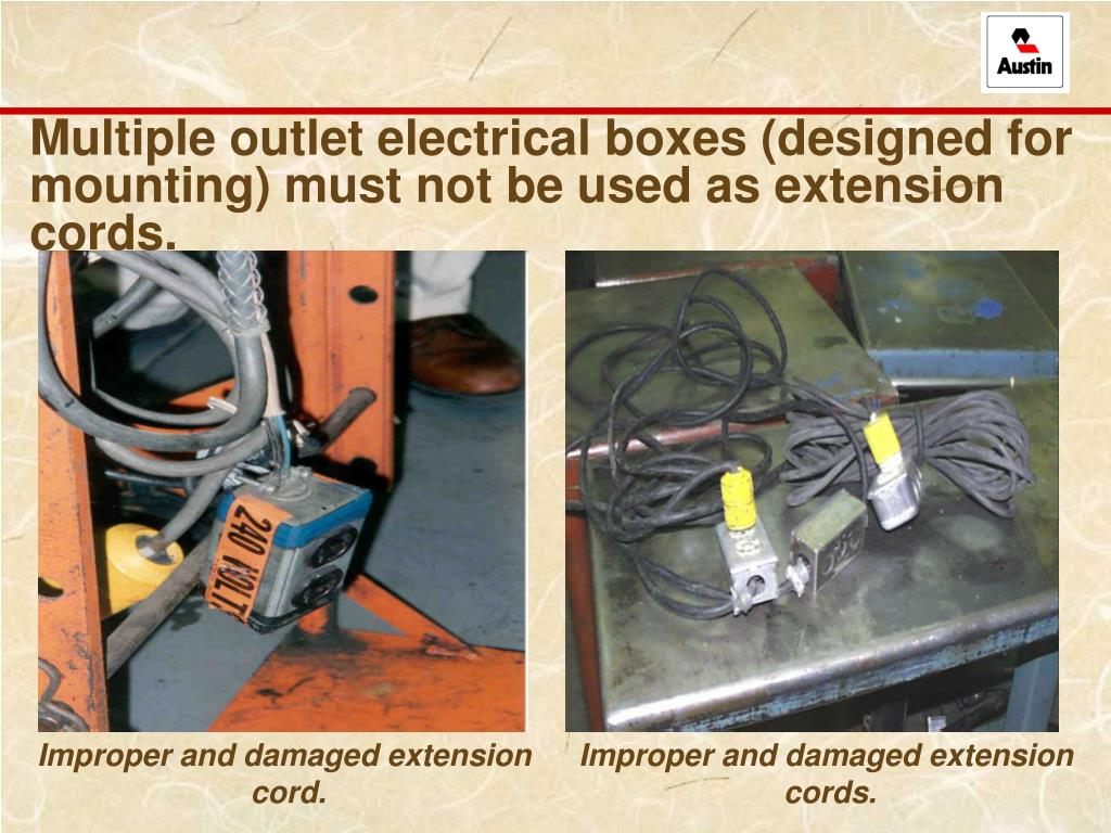 Multiple outlet electrical boxes (designed for mounting) must not be used as extension cords.