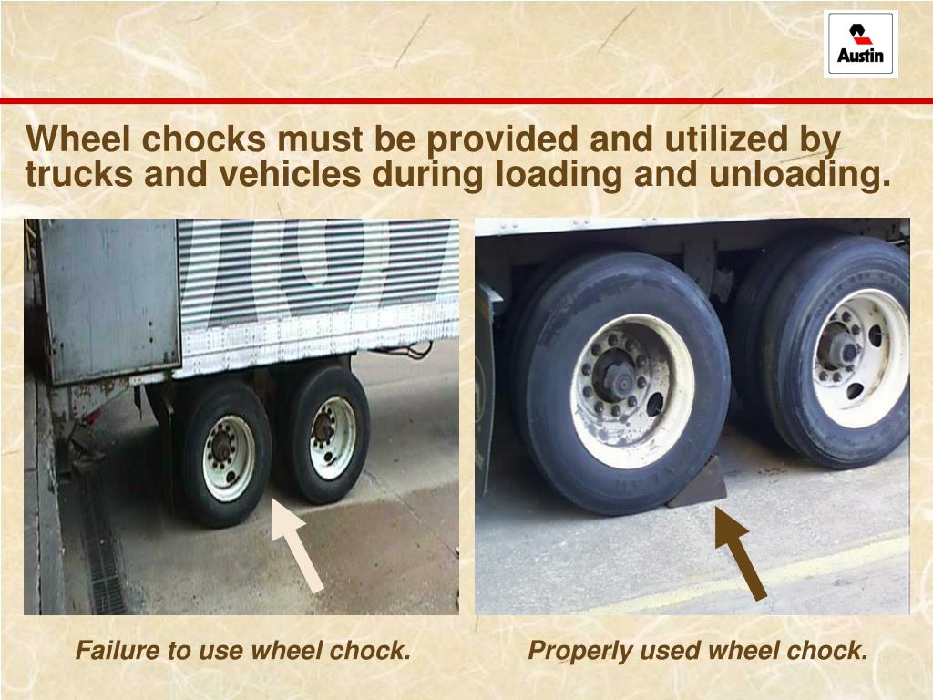 Wheel chocks must be provided and utilized by trucks and vehicles during loading and unloading.