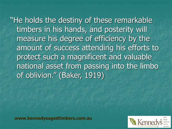 """He holds the destiny of these remarkable timbers in his hands, and posterity will measure his deg..."