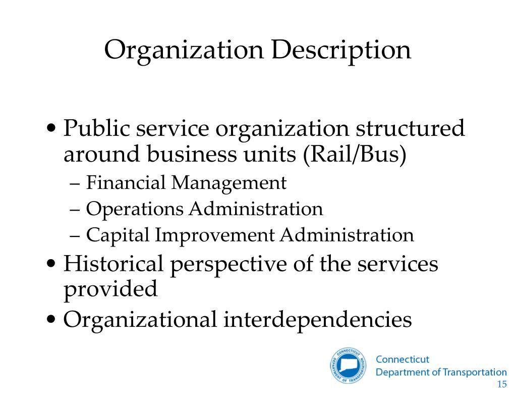 a description of the organization you
