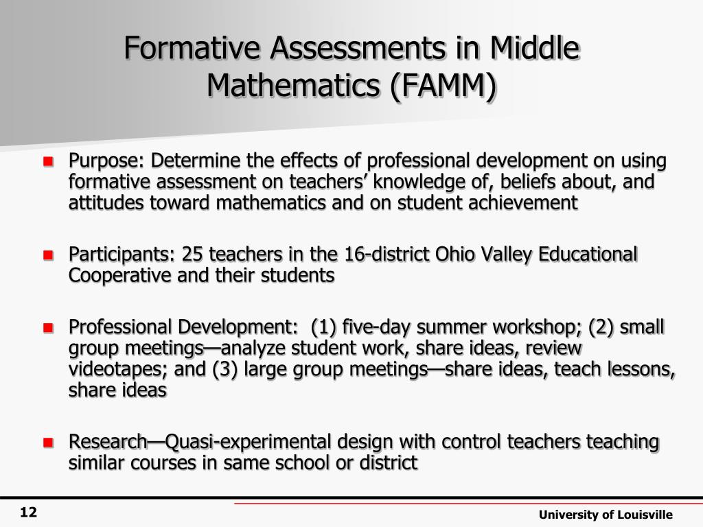 Formative Assessments in Middle Mathematics (FAMM)