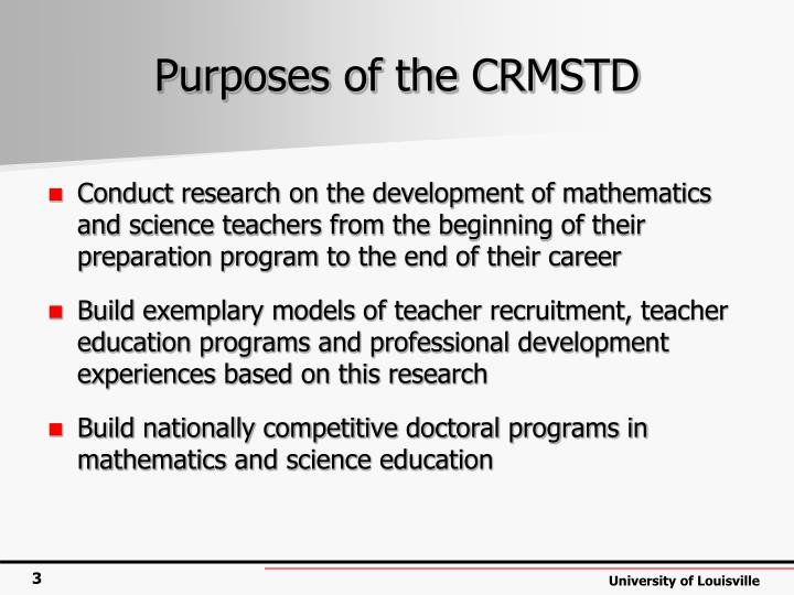 Purposes of the crmstd