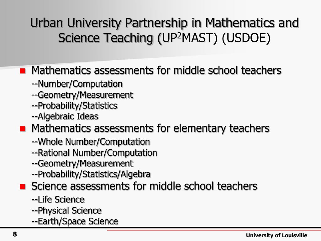 Urban University Partnership in Mathematics and Science Teaching (