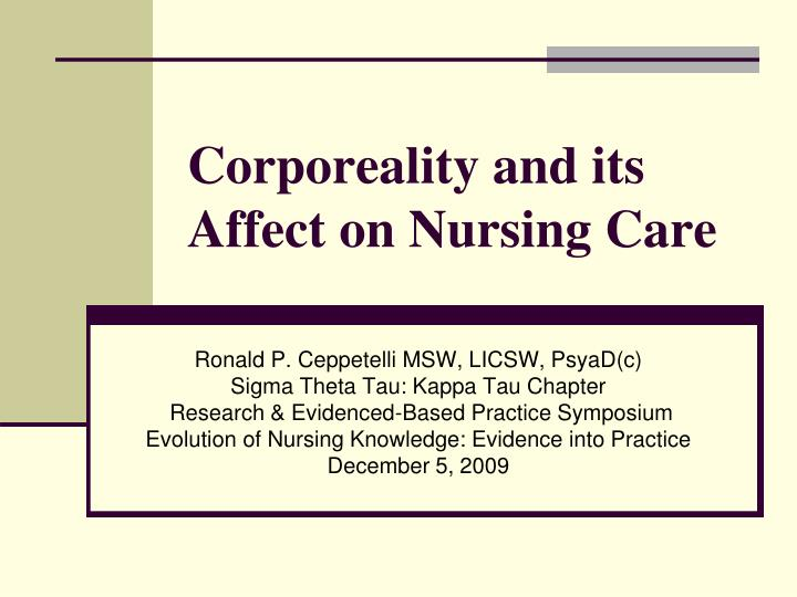 corporeality and its affect on nursing care n.