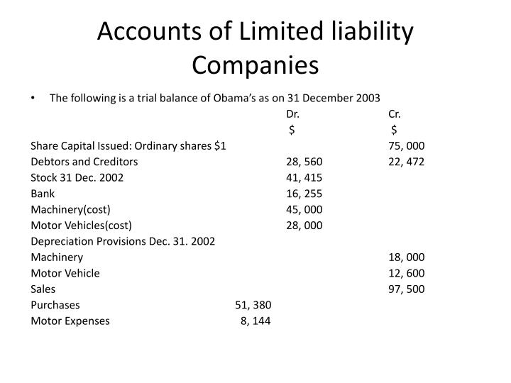 accounts of limited liability companies n.