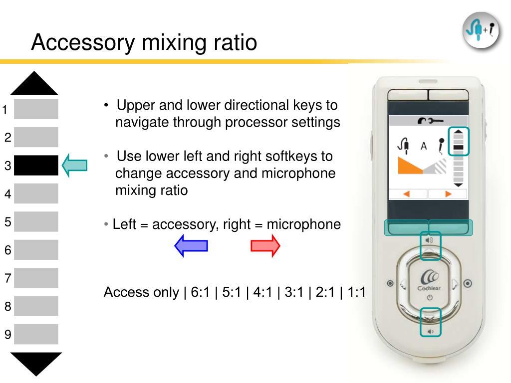 Accessory mixing ratio