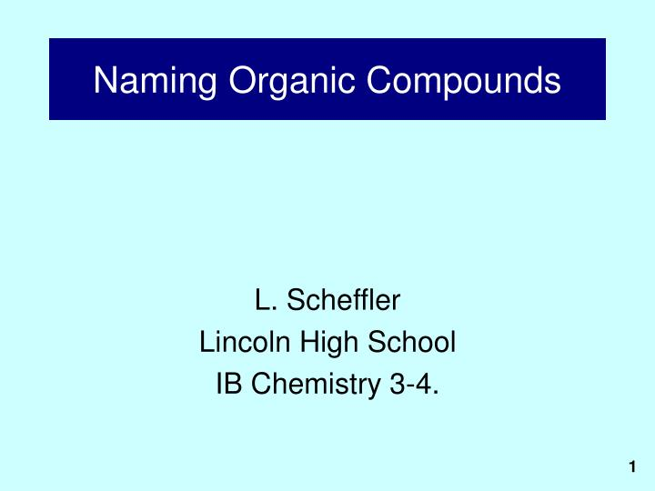 naming organic compounds n.