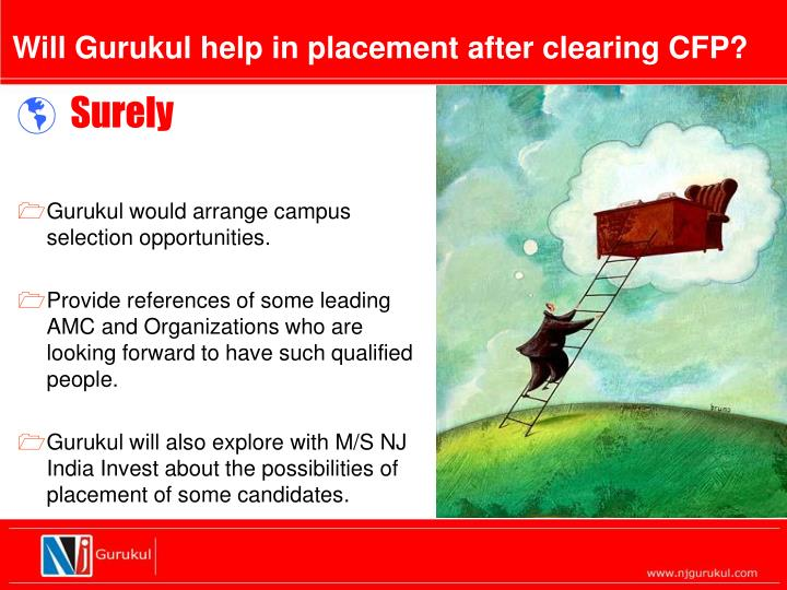 Will Gurukul help in placement after clearing CFP?