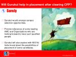 will gurukul help in placement after clearing cfp