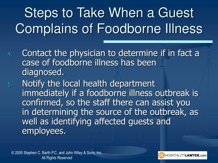 Steps to Take When a Guest Complains of Foodborne Illness
