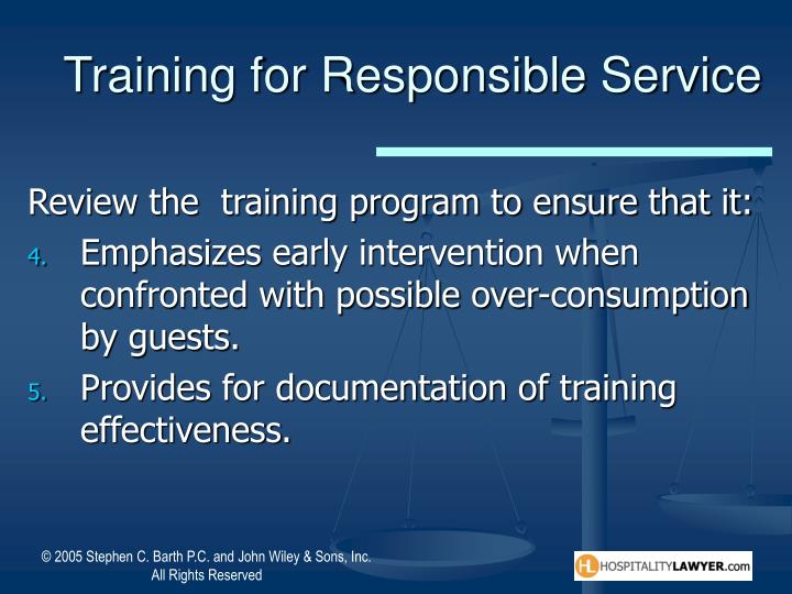 Training for Responsible Service