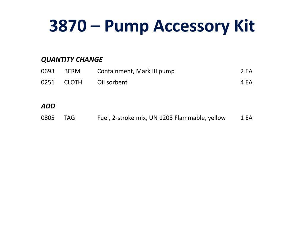 3870 – Pump Accessory Kit