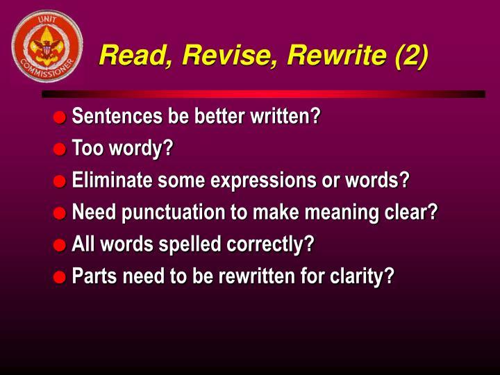 Read, Revise, Rewrite (2)