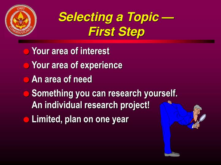 Selecting a Topic —